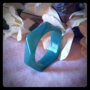Vintage Faceted Green Lucite Bangle Bracelet